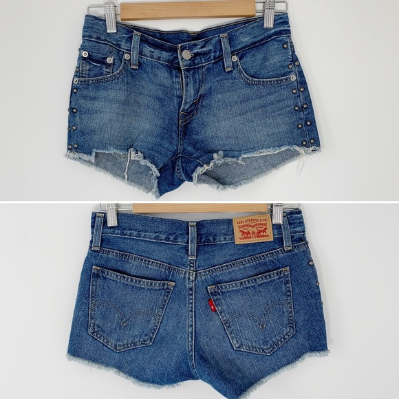 LEVIS low rise denim cut off studded jean shorts